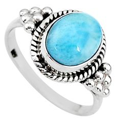 4.02cts natural blue larimar 925 silver solitaire handmade ring size 7.5 t15881