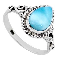 2.29cts natural blue larimar 925 silver solitaire handmade ring size 7.5 t15890