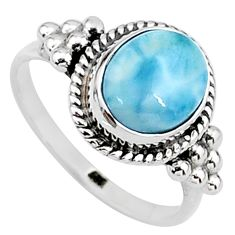 4.20cts natural blue larimar 925 silver solitaire handmade ring size 7.5 t15893