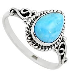 2.43cts natural blue larimar 925 silver solitaire handmade ring size 8.5 t15898