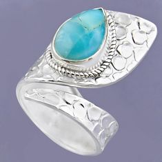 5.39cts natural blue larimar 925 sterling silver adjustable ring size 7.5 r54734