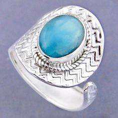 4.42cts natural blue larimar 925 sterling silver adjustable ring size 8.5 r54799