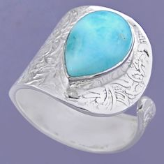 5.13cts natural blue larimar 925 sterling silver adjustable ring size 8.5 r54873