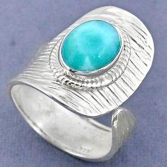 5.13cts natural blue larimar 925 sterling silver adjustable ring size 9.5 r63261