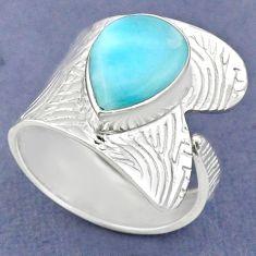 4.82cts natural blue larimar 925 sterling silver adjustable ring size 8.5 r63344