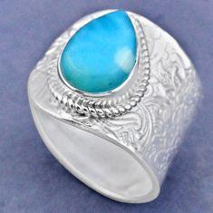 5.53cts natural blue larimar 925 sterling silver adjustable ring size 9.5 r63361