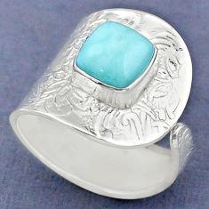 3.28cts natural blue larimar 925 sterling silver adjustable ring size 8.5 r63381