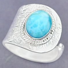 5.31cts natural blue larimar 925 sterling silver adjustable ring size 8.5 r90558