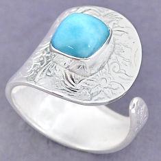 3.26cts natural blue larimar 925 sterling silver adjustable ring size 8.5 r90594
