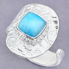 3.17cts natural blue larimar 925 sterling silver adjustable ring size 8.5 r90640