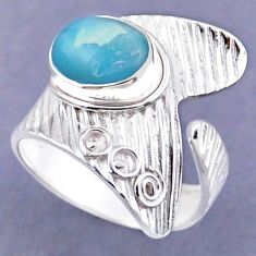 5.30cts natural blue larimar 925 sterling silver adjustable ring size 10 r54849