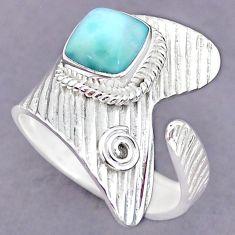 3.41cts natural blue larimar 925 sterling silver adjustable ring size 10 r90610