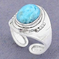 3.99cts natural blue larimar 925 sterling silver adjustable ring size 5 t8662