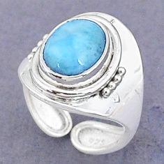 3.85cts natural blue larimar 925 sterling silver adjustable ring size 5 t8677