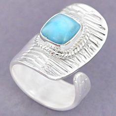 3.27cts natural blue larimar 925 sterling silver adjustable ring size 6 r90614