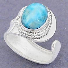 4.06cts natural blue larimar 925 sterling silver adjustable ring size 6 t8646