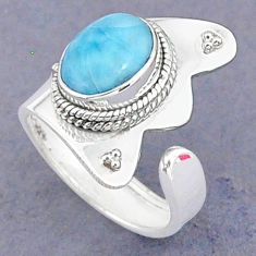 3.58cts natural blue larimar 925 sterling silver adjustable ring size 6 t8668