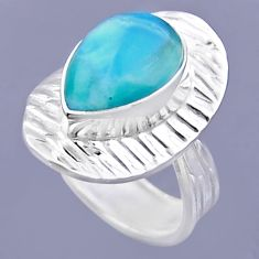 5.49cts natural blue larimar 925 sterling silver adjustable ring size 7 r54710
