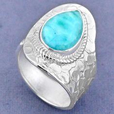 5.56cts natural blue larimar 925 sterling silver adjustable ring size 7 r63263