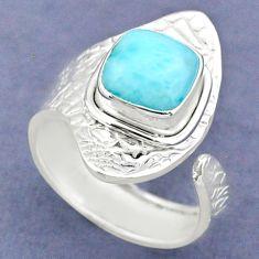 3.50cts natural blue larimar 925 sterling silver adjustable ring size 7 r63387