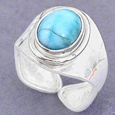 3.62cts natural blue larimar 925 sterling silver adjustable ring size 7 t8641