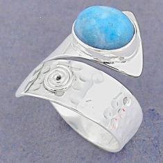 4.70cts natural blue larimar 925 sterling silver adjustable ring size 7 t8675