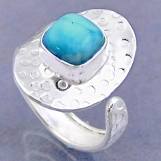 3.13cts natural blue larimar 925 sterling silver adjustable ring size 8 r54741