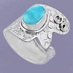 3.75cts natural blue larimar 925 sterling silver adjustable ring size 8 r54875