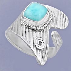 3.25cts natural blue larimar 925 sterling silver adjustable ring size 8 r54893