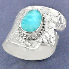 3.28cts natural blue larimar 925 sterling silver adjustable ring size 8 r63417