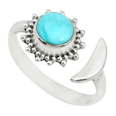 1.36cts natural blue larimar 925 silver adjustable moon ring size 8 r74607