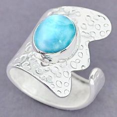 5.13cts natural blue larimar 925 sterling silver adjustable ring size 8 r90577