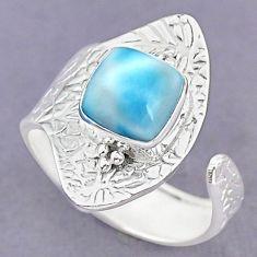 3.28cts natural blue larimar 925 sterling silver adjustable ring size 8 r90651