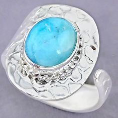 5.16cts natural blue larimar 925 sterling silver adjustable ring size 8 r90655