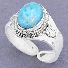 4.23cts natural blue larimar 925 sterling silver adjustable ring size 8 t8654