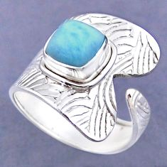 3.28cts natural blue larimar 925 sterling silver adjustable ring size 9 r54809