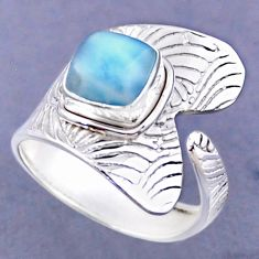 3.35cts natural blue larimar 925 sterling silver adjustable ring size 9 r54812