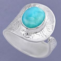 5.16cts natural blue larimar 925 sterling silver adjustable ring size 9 r54872