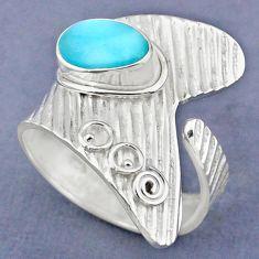 2.68cts natural blue larimar 925 sterling silver adjustable ring size 9 r63242