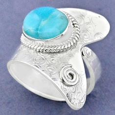 5.10cts natural blue larimar 925 sterling silver adjustable ring size 9 r63443