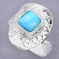 3.37cts natural blue larimar 925 sterling silver adjustable ring size 9 r90652