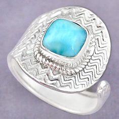 3.48cts natural blue larimar 925 sterling silver adjustable ring size 9 r90671