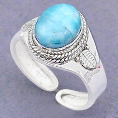 4.23cts natural blue larimar 925 sterling silver adjustable ring size 9 t8642