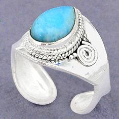 4.30cts natural blue larimar 925 sterling silver adjustable ring size 7.5 t8628