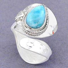 4.26cts natural blue larimar 925 sterling silver adjustable ring size 7.5 t8630