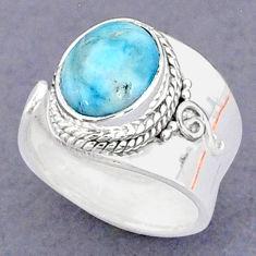 3.91cts natural blue larimar 925 sterling silver adjustable ring size 5.5 t8660