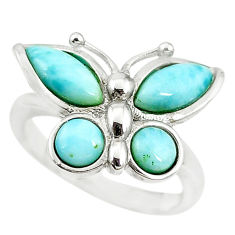 Natural blue larimar 925 sterling silver butterfly ring size 7 a68623 c15161