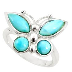 Natural blue larimar 925 sterling silver butterfly ring size 7 a68625 c15174