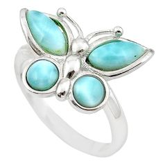 Natural blue larimar 925 sterling silver butterfly ring size 8 a63129 c15169