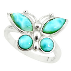 Natural blue larimar 925 sterling silver butterfly ring size 8 a68626 c15168